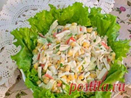 Рецепт: Постный салат с крабовыми палочками