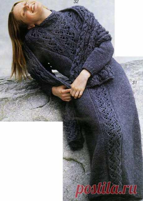 Платье с центральным ажуром (спицы)