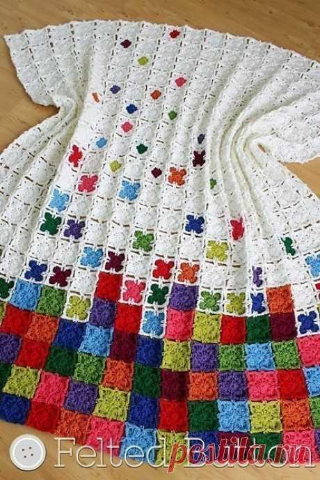 Идея для вязания пледа из квадратных мотивов, схема