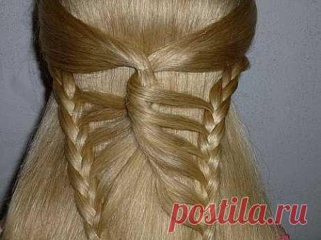 Причёска с плетением - Бабочка. Причёска на средние/длинные волосы. Причёски в школу для девочек - YouTube