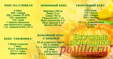 10 рецептов ДОМАШНИХ КЕКСОВ Кекс на сливках Ингредиенты: 4 яйца 250 г сахара 250 г сливок 30-35% 125 г крахмала (у меня пшеничный) 125 г муки 1 пакетик ванилина или ванильного сахара 1 уп. разрыхлителя (10 г) Как приготовить: Яйца хорошо взбиваем с сахаром и ванилином. Продолжая взбивать, добавляем сливки комнатной температуры. Масса станет жиже. Смешаем отдельно муку, крахмал …