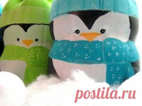Милые пингвинчики из пластиковой бутылки - Экологическое землетворчество | Экологическое землетворчество