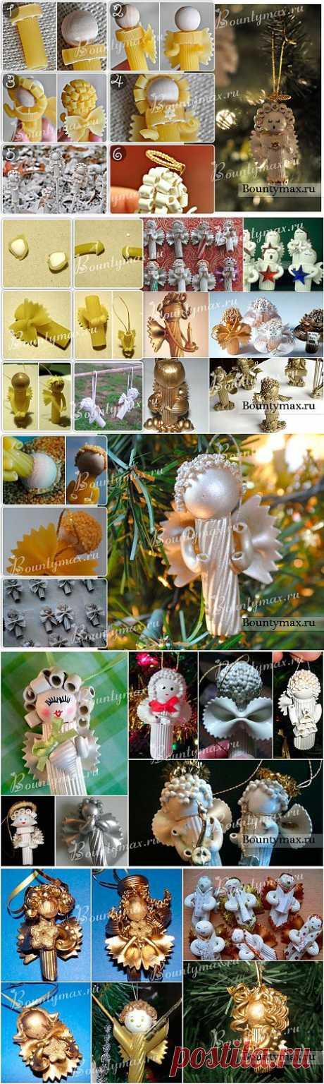 Новогодние ангелочки из макарон - между прочим их легко сделать своими руками