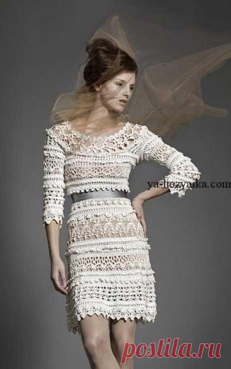 Платье крючком от Ванессы Монторо схемы. Кружевное платье для лета описание
