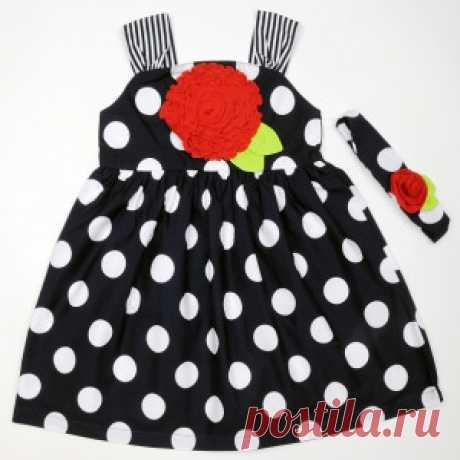 Сарафан синего цвета в крупный горох с повязкой – Цена 954 руб. Купить в интернет-магазине детской одежды MiMi Kid