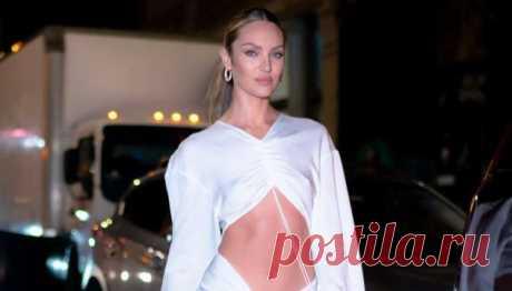 Кэндис Свейнпол в платье с вырезом на животе не боится замерзнуть в Нью-Йорке | Офигенная