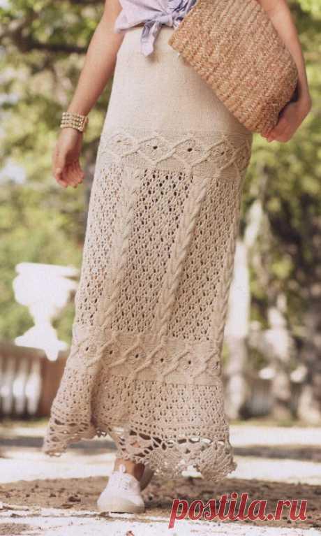 Длинная юбка спицами схема и описание. Юбка спицами арановыми узорами | Вязание для всей семьи