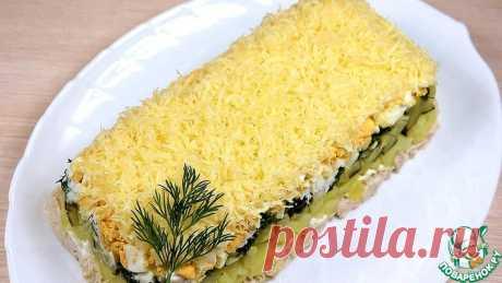 Слоёный салат с печенью трески Кулинарный рецепт