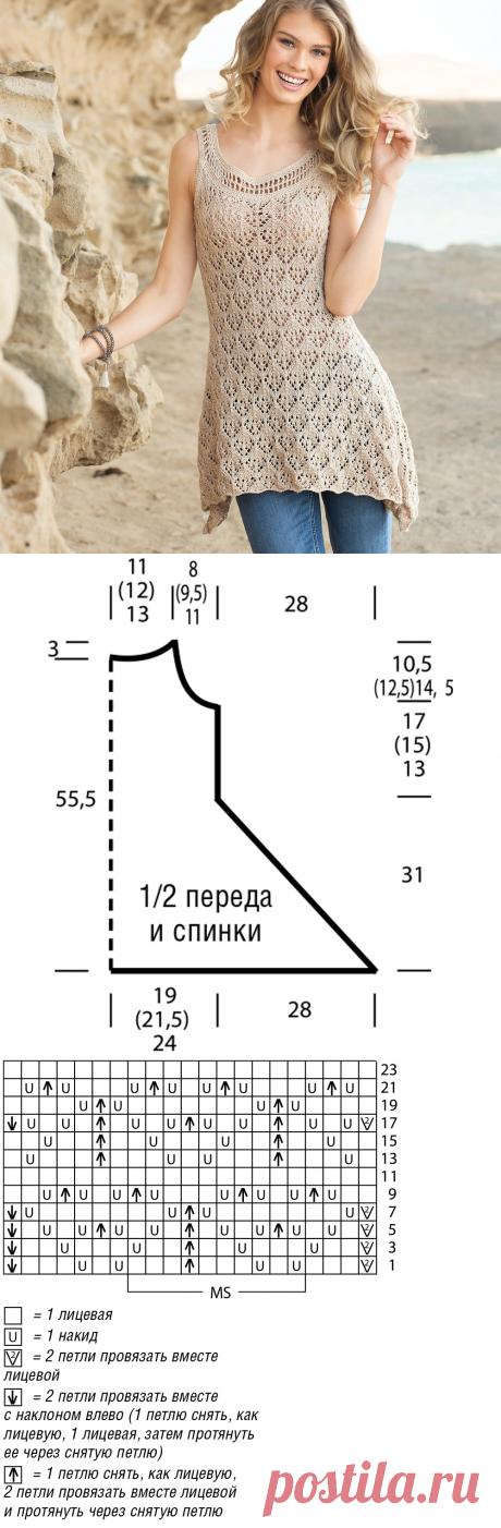 Ажурная туника со скошенной линией низа - схема вязания спицами. Вяжем Туники на Verena.ru