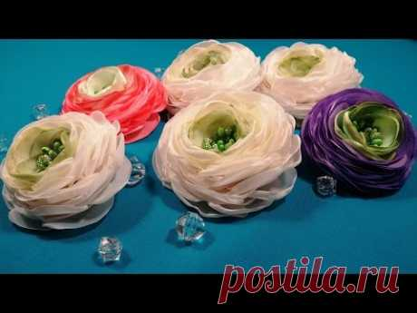 Ranunculus of fabric or ribbons\/Ranunculus de tela o cintas\/Ranunkulyus from fabric or tapes