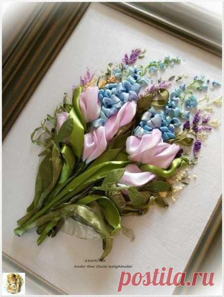 Цветы из атласных лент: вышивка — DIYIdeas
