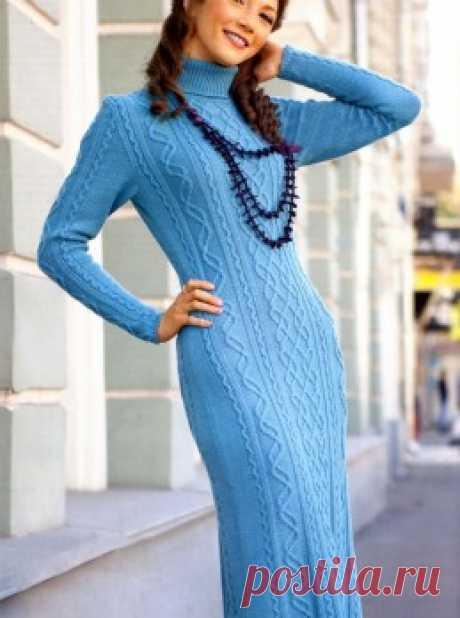 Вязание крючком и спицами - Платье узором ромбы с косами
