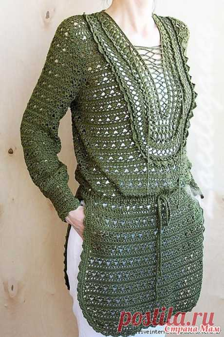 """. """"Ветка оливы&quot tunic;. - All in openwork... (knitting by a hook) - the Country of Mothers"""
