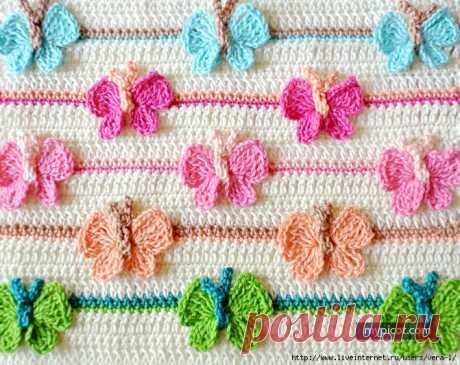 Красивый узор с бабочками для детского пледа