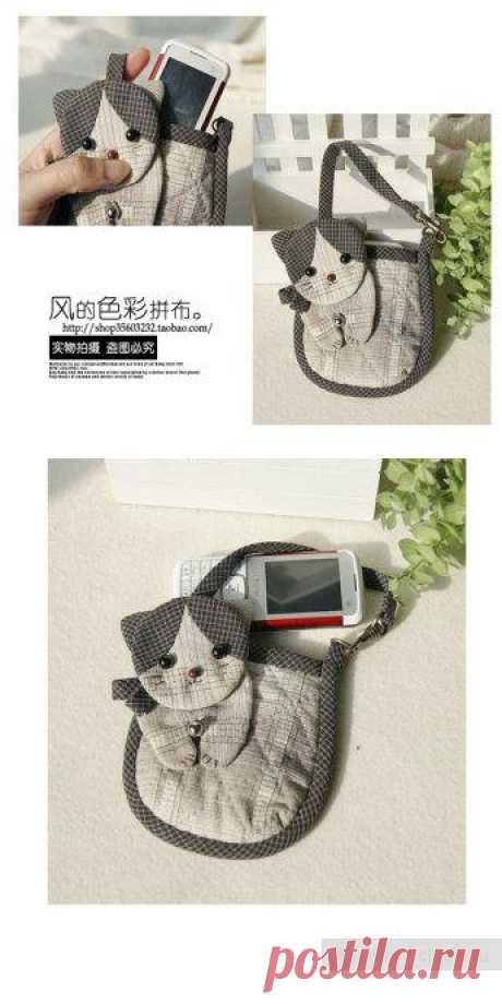 Маленькая сумочка для мобильного своими руками, выкройка