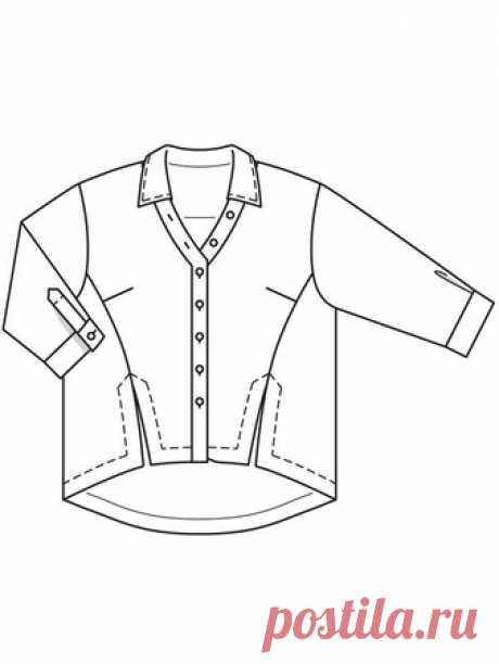 Блузка с рукавами 7/8 - выкройка № 418 из журнала 1/2018 Burda. Мода для полных – выкройки блузок на Burdastyle.ru