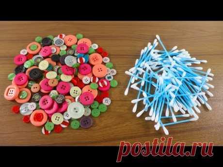 подделка из пуговиц и ватных палочек с бусинами