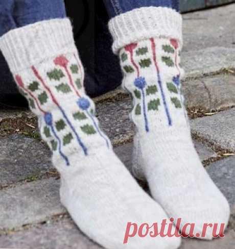 Вязаные носки «Весенние»   ВЯЗАНЫЕ НОСКИ