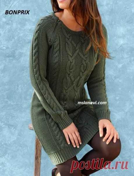 Вязаное платье спицами | Вяжем с Лана Ви