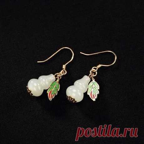 Hetian jade gourd earrings-vintage gold-plated gourd | Etsy