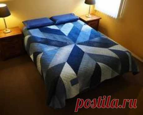 Blue Giant quilt made from upcycled jean