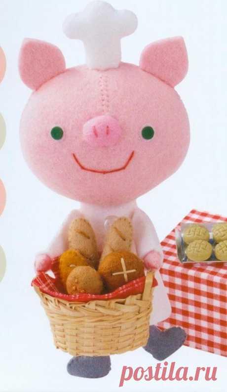 Игрушка Поросёнок — пекарь | Мастер классы | рукоделие, декор, полимерная глина, плетение, вышивание