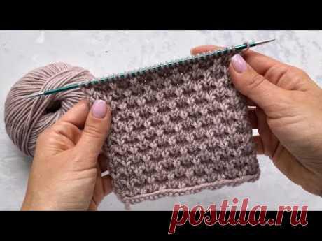 Красивый рельефный плотный и простой узор с вытянутыми петлями для шапок, свитеров и кардиганов.