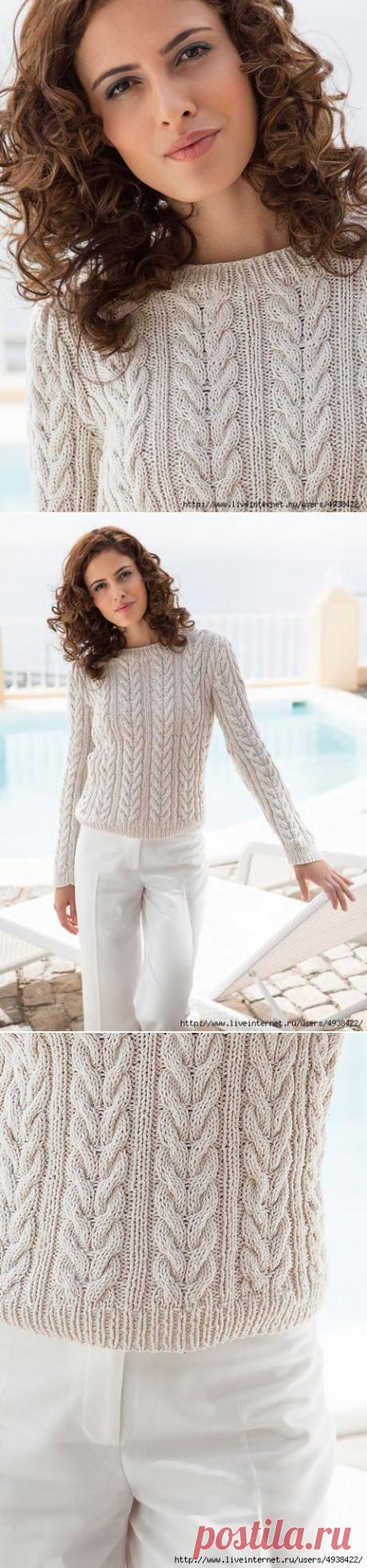 Женский пуловер в резинку с косами.