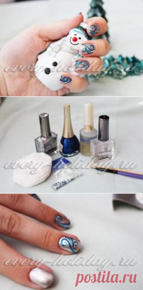 La manicura para Nuevo año 2016 fotos a las uñas cortas