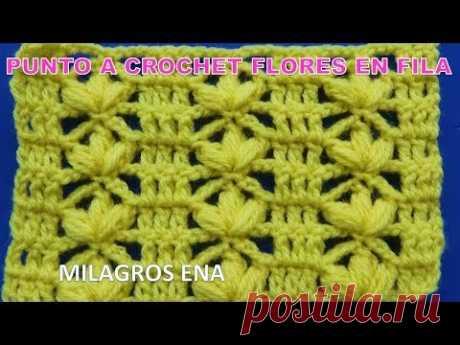 Punto a crochet facil de tejer con flores para blusas y chalecos