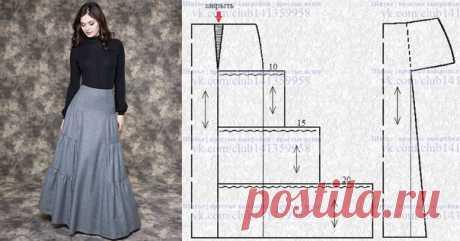 Юбка макси OLIVEGREY с отделенной средней частью и оборками по бокам - моделирование по базовой выкройке. #простыевыкройки #простыевещи #шитье #юбка #моделирование
