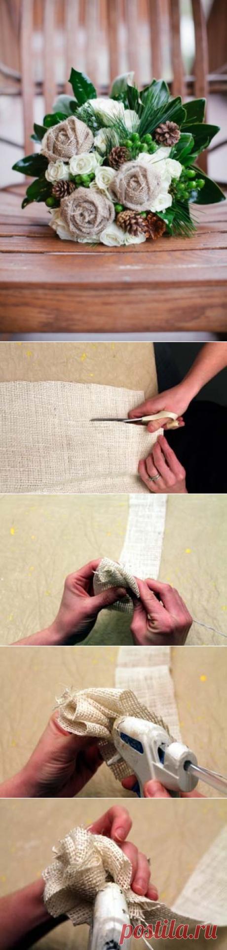 Прелестные цветы из мешковины — Сделай сам, идеи для творчества - DIY Ideas