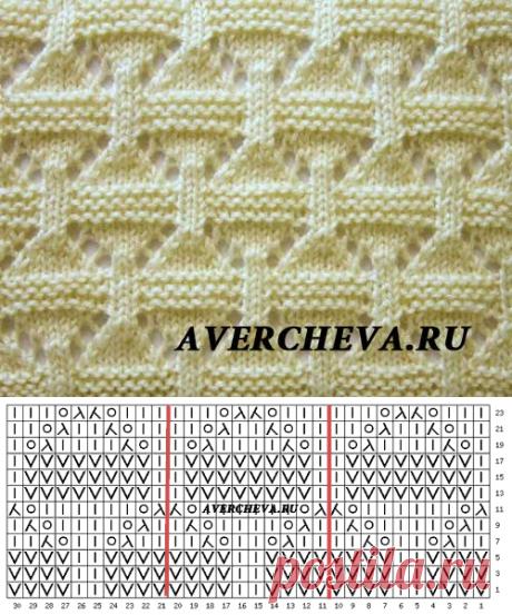 Узор спицами 955 для пледа | каталог вязаных спицами узоров