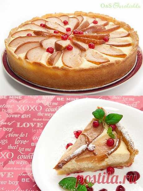 Пирог с творогом и грушами.