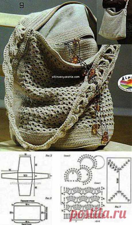 Сумки в городском стиле связанные крючком / Стильное вязание