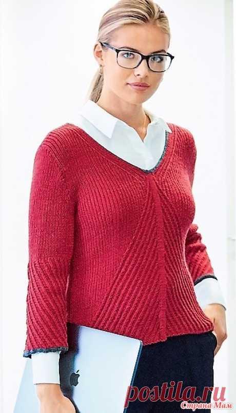 Пуловер в офисном стиле. Спицы. Стильный пуловер с рукавами три четверти со схемой и пошаговым бесплатным описанием вязания.  Размеры джемпера: 36-38 (40-42, 44-46, 48-50).