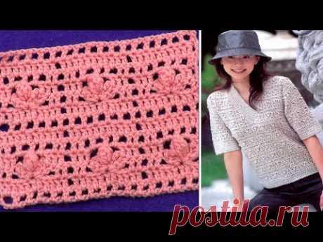 Узор Цветочки в квадратах   Crochet pattern Flowers in squares