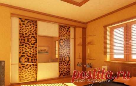 Встроенный шкаф-купе фотопечать гепардовая шкура под заказ: фото, материалы, вид