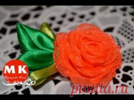 Мастер-класс Канзаши.Цветы из органзы.Заколка для волос.Роза Канзаши/The tiny rose barrette