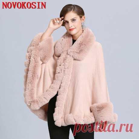 2020 зимний теплый большой мех шеи розовый плащ для женщин Пушистый кардиган из искусственного меха лисы накидка Трикотажное пончо с меховыми рукавами летучей мыши|Женские шарфы|