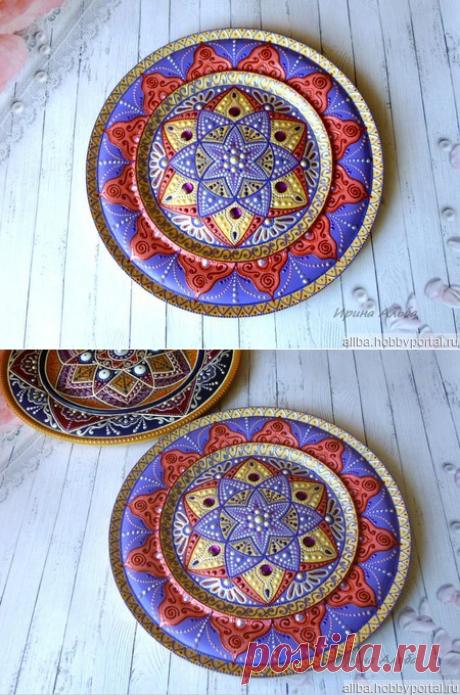 Декоративная тарелка Сказки Ярилы, деревянная, точечная роспись