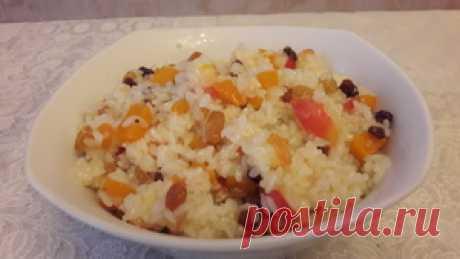 Сладкий рис с яблоком, изюмом и тыквой рецепт с фото
