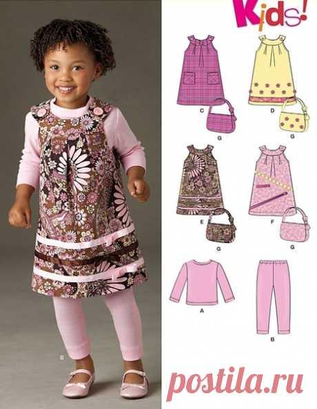 Выкройка Детский сарафан, кофта, лосины и сумочка Размеры на возраст 6 мес - 4 года  #patterns@thestylishkids #sewinginstruction@thestylishkids