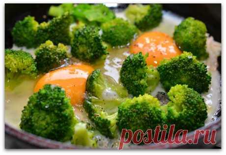 Яичницы с брокколи. Очень полезный завтрак