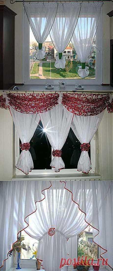 Оформляем окно на кухне: легкие белые шторы - Учимся Делать Все Сами