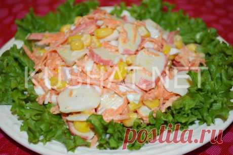 Салат с крабовыми палочками, корейской морковью и яйцом. • Кушать нет