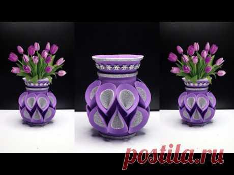 ваза для цветов из пластиковые бутылки, губки / фланель, блестящие губки, кружево