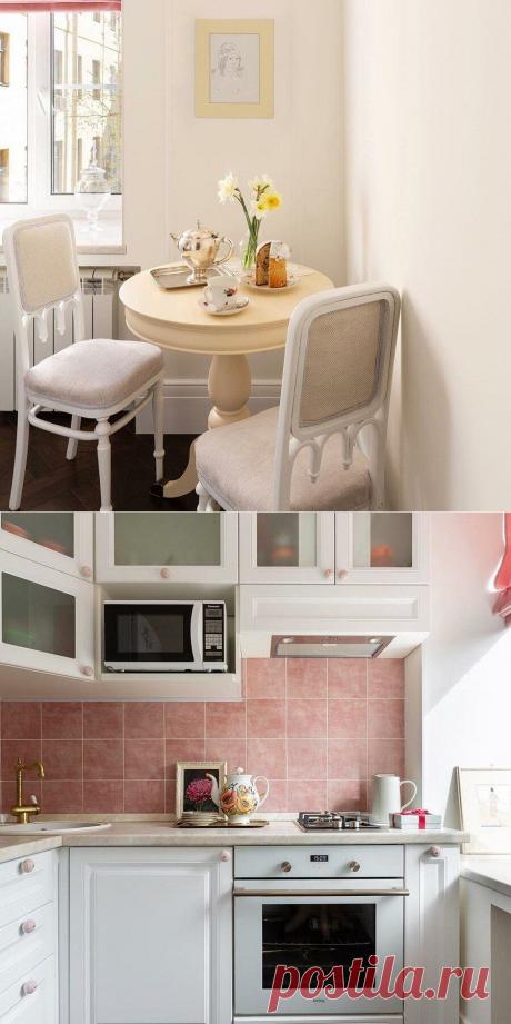Чудесная бело-розовая кухонька 4м2 – гармонично уместили в ней все, что нужно   Oikodomeo   Яндекс Дзен