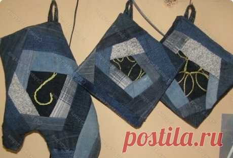 Лоскутное шитье из старых джинс - ПРИХВАТКИ. СШИТЬ или ВЫБРОСИТЬ? | Наши руки не для скуки | Яндекс Дзен