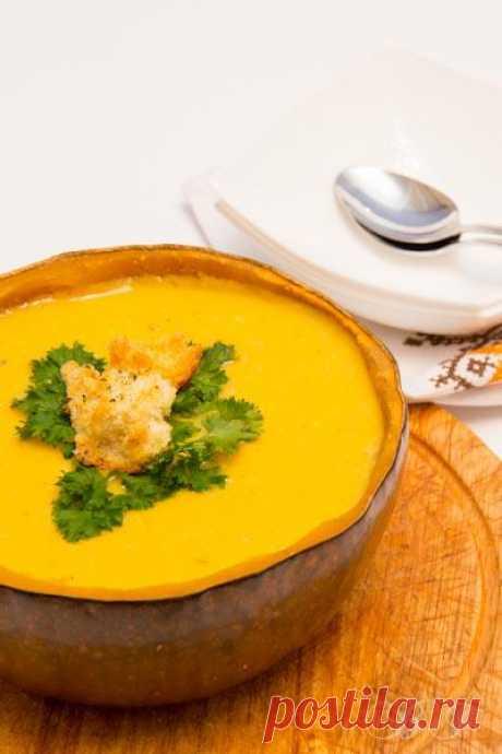 Супы: Суп тыквенно-сырный с крутонами